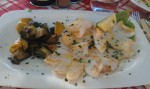 Grillet blekksprut (Calamari) til lunch ved Gardasjøen